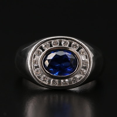 Sterling Synthetic Sapphire and Sapphire Ring