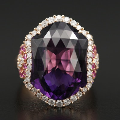 14K Yellow Gold Amethyst, Pink Sapphire, and 1.06 CTW Diamond Ring