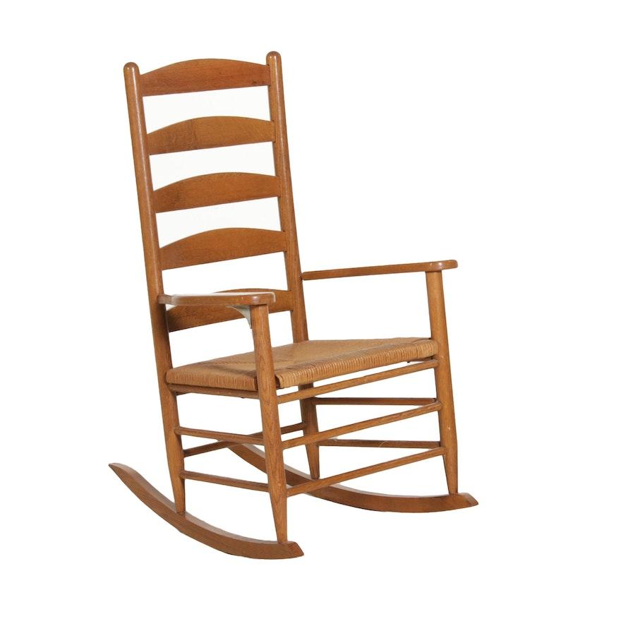 Ladderback Oak Rocking Chair, 20th Century