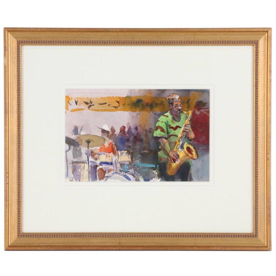 """Tony Green New Orleans Jazz Watercolor Painting """"Pharoah Sanders"""""""