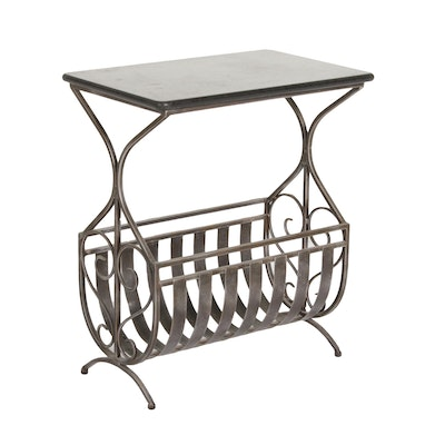 Metal Magazine Rack Side Table with Stone Top