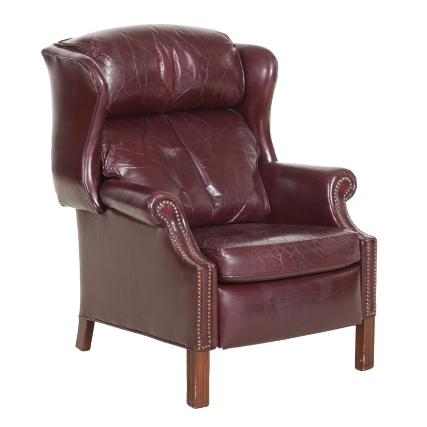 Bradington Young Maroon Leather Wingback Recliner