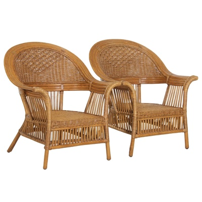 Pair of Rattan Wicker Armchairs, Mid-20th Century
