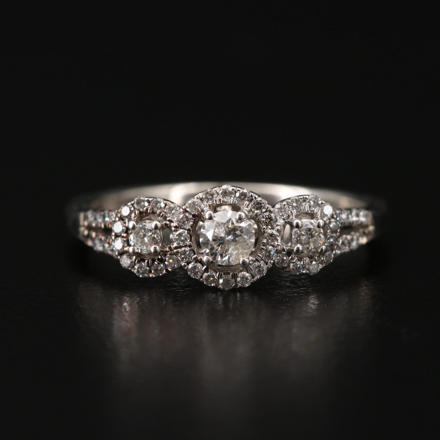 Sterling Silver Diamond Halo Ring