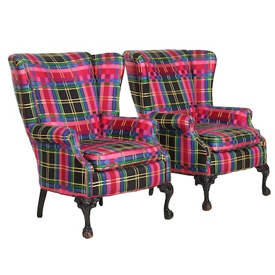 Pair of Bright Plaid Wingback Armchairs