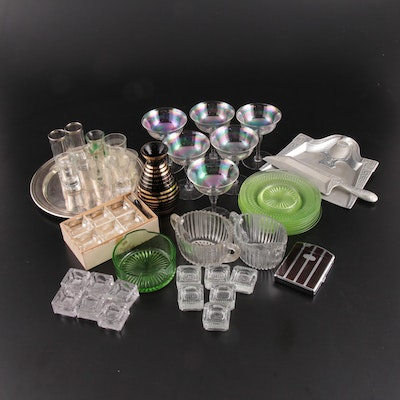 "Anchor Hocking ""Roulette"" Green Glass Plates with Other Table Accessories"