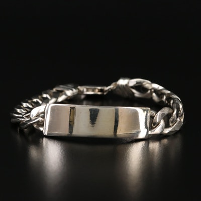 Sterling Silver Curb Chain ID Bracelet