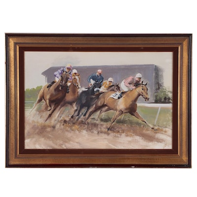 John Rattenbury Skeaping Watercolor and Gouache Painting of Horse Race