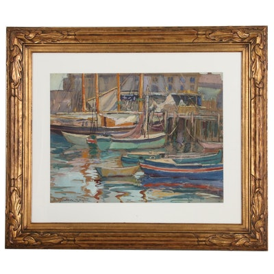 Gertrude B. Bourne Watercolor and Gouache Painting of Harbor Scene