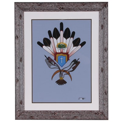 Robert Redbird Gouache Painting of Native American Symbolic Design