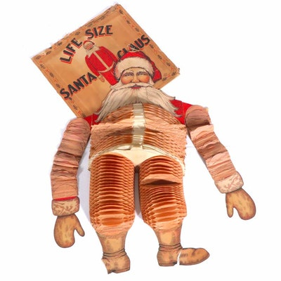 Beistle Paper Honeycomb Wall Hanging Santa Claus, 1930s