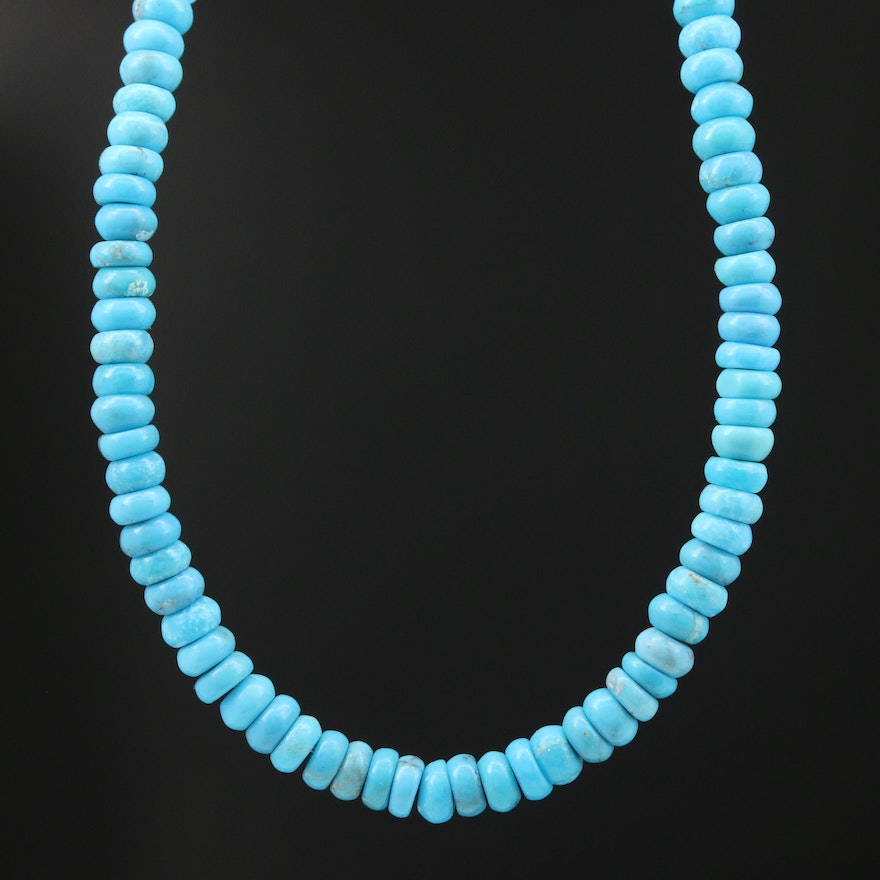 Turquoise Necklace with 14K Clasp