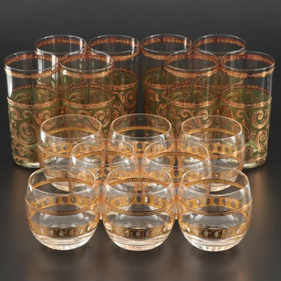 """Culver """"Toledo"""" Collins Glasses and """"Pisa"""" Roly-Poly Glasses, Mid-20th Century"""