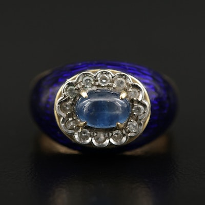 18K Yellow Gold Sapphire, Diamond, and Enamel Ring