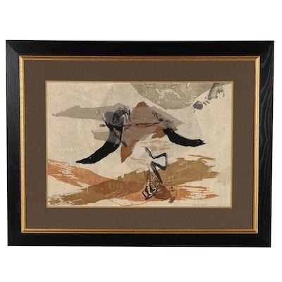 "Rikio Takahashi Sosaku Hanga Woodblock ""A Poem of Imperial"", 1960"