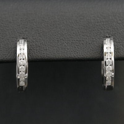 10K Diamond Huggie Small Hoop Earrings