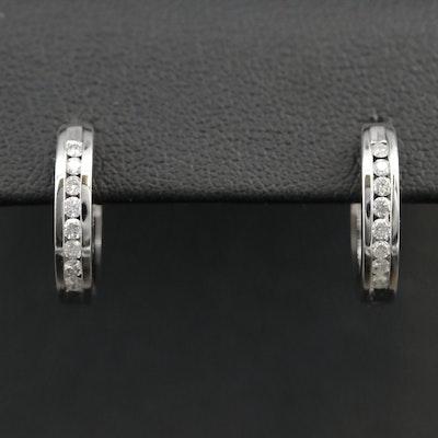 10K Diamond Huggie Small Hoop Earrings