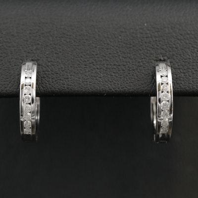 10K Diamond Channel Hoop Earrings