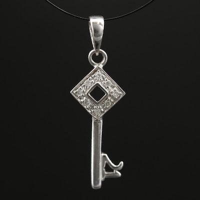 9K White Gold Diamond Key Pendant