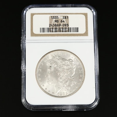 NGC Graded MS64 1885 Morgan Silver Dollar