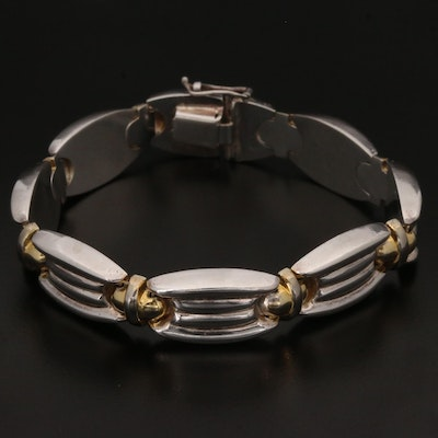 Sterling Silver Fancy Link Panel Bracelet