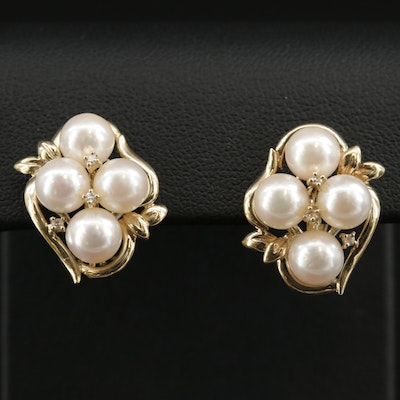 14K Yellow Gold Cultured Pearl and Diamond Cluster Earrings