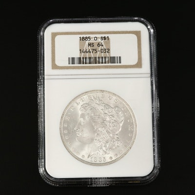 NGC Graded MS64 1885-O Morgan Silver Dollar