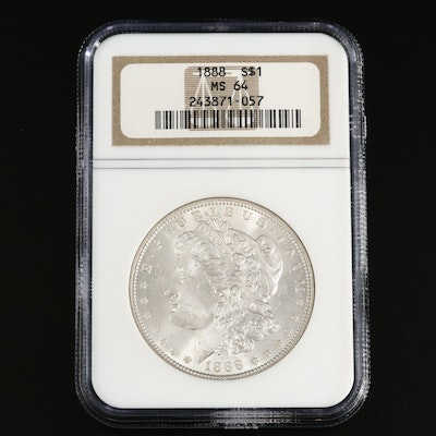 NGC Graded MS64 1888 Morgan Silver Dollar