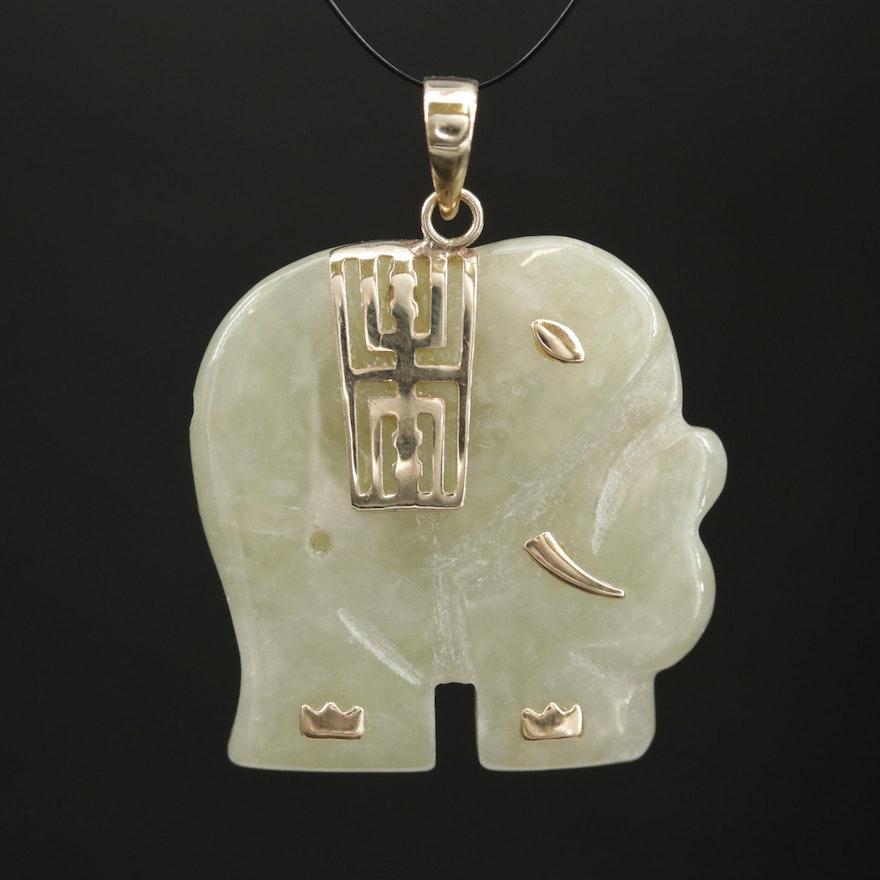 10K Gold Jadeite Elephant Pendant
