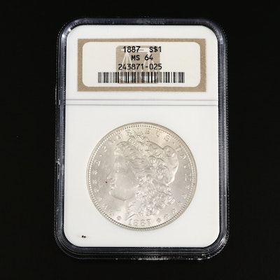 NGC Graded MS64 1887 Morgan Silver Dollar