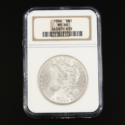 NGC Graded MS64 1886 Morgan Silver Dollar