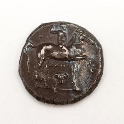 Ancient Tarentum, Calabria AR Nomos (Drachm) Coin, ca. 281 B.C.