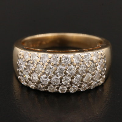 14K Yellow Gold Pave Set 0.72 CTW Diamond Ring
