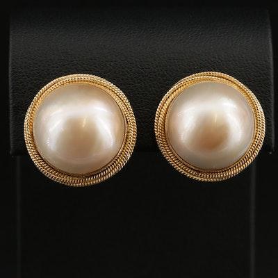 18K Gold Pearl Button Earrings