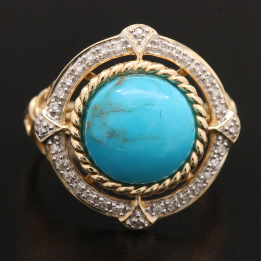 14K Yellow Gold Turquoise and Diamond Ring With Openwork Design