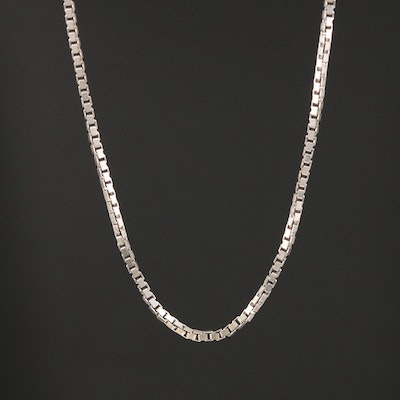14K White Gold Box Link Chain
