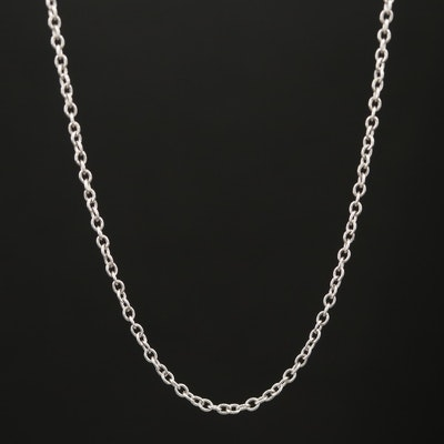 14K White Gold Cable Link Chain Necklace