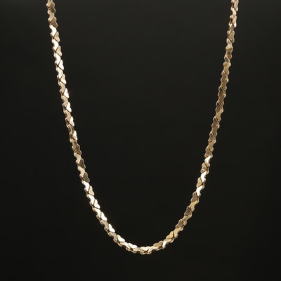 14K Yellow Gold Cobra Link Necklace With Heart Motif