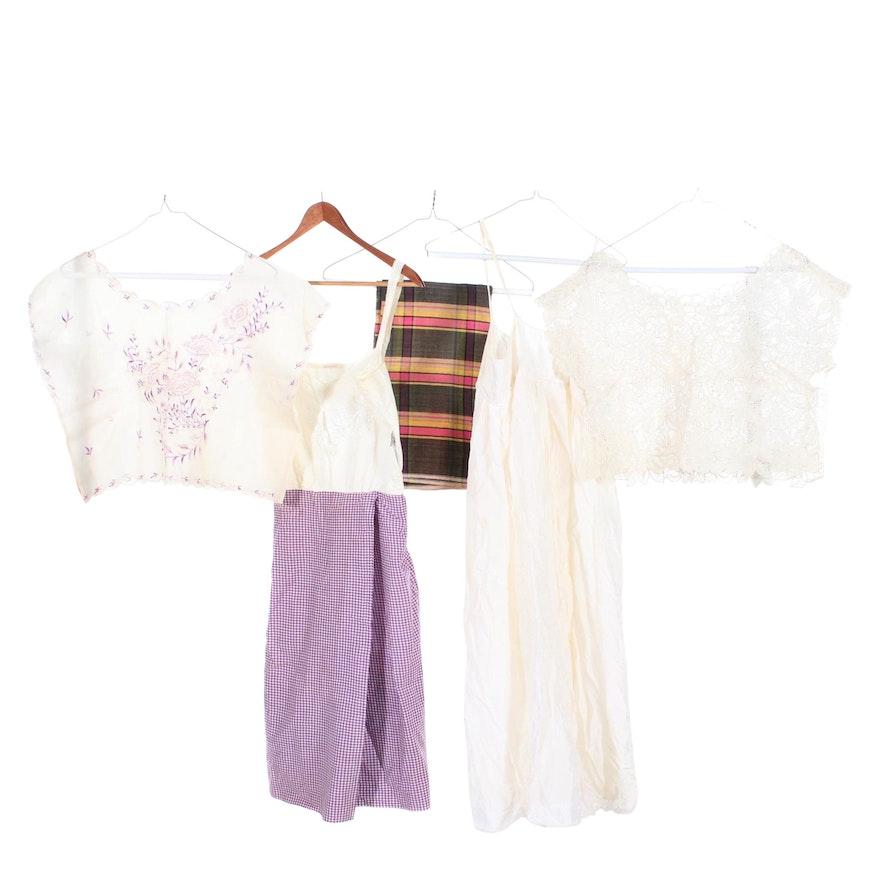 Filipino Kimonas, Slip Dresses and Patadyong Including Embroidery, Vintage