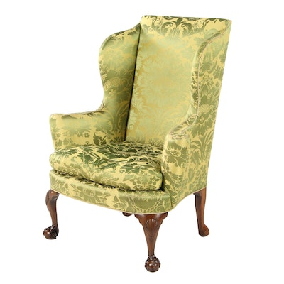 Chippendale Style Green Silk Damask Wingback Armchair