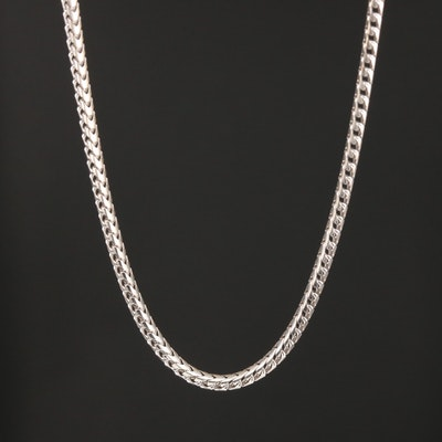 14K White Gold Round Fancy Link Chain