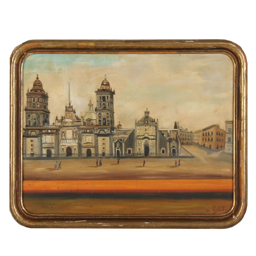 Agapito Labios Cityscape Oil Painting