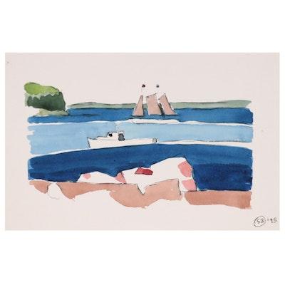 Robert Herrmann Watercolor Painting of Coastal Scene with Sailboat, 1995