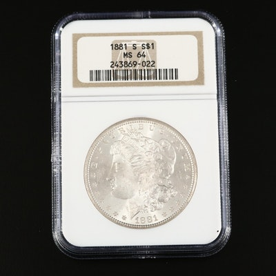 NGC Graded MS64 1881-S Morgan Silver Dollar