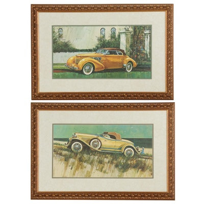 Offset Lithographs of Vintage Cord and Auburn Cars