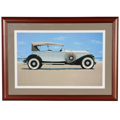 Harold James Cleworth Offset Lithograph of Vintage Car at Beach