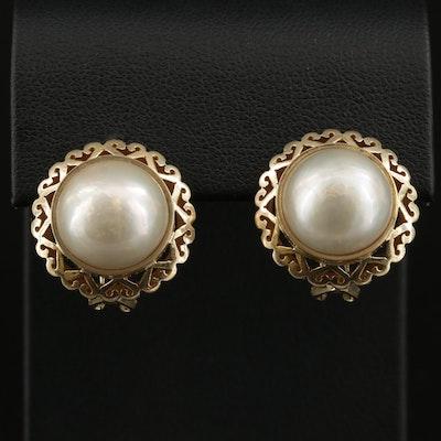 14K Gold Pearl Button Earrings