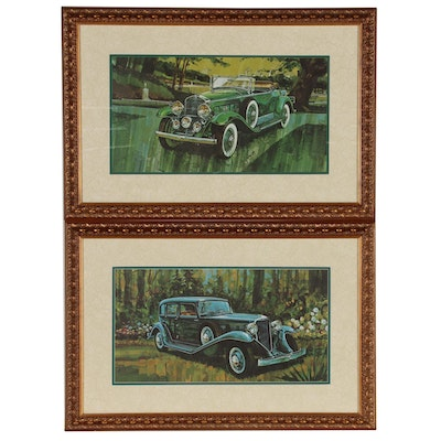 Offset Lithograph Prints of Vintage Cadillacs