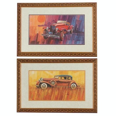 Offset Lithographs of Vintage Cars