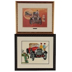 Ink and Watercolor Illustration of Vintage Car and More